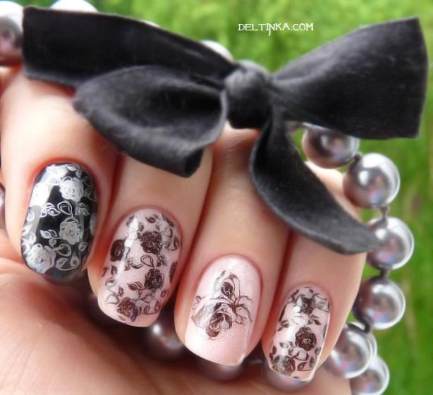 Stamping: roses black lace + Loreal 201 Rose paradis